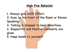 High Five Behavior Expectations