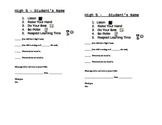 High Five Behavior/Homework Record