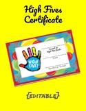 High Five Certificates (PBIS)