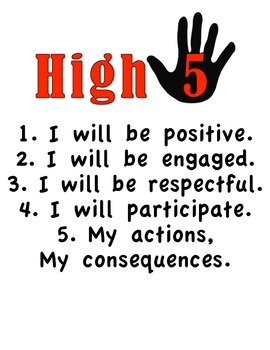High Five Classroom Rules Management Poster