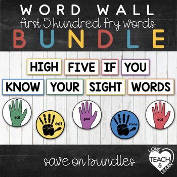 High Five Fry Sight Word - High Five Word Wall Bundle
