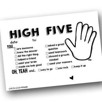 High Five Growth Mindset Encouragement Teacher Notes