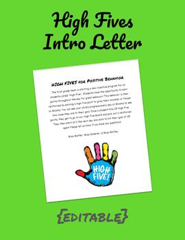 High Five Intro Letter (PBIS)