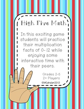 High Five Math Game: Multiplication Facts for Grades 2-5
