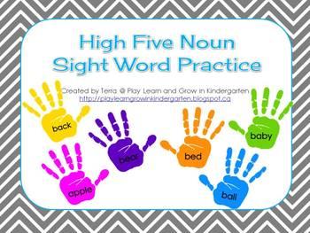 High Five Noun Sight Word Practice