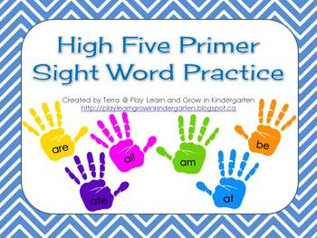 High Five Primer Sight Word Practice