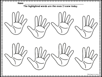 High Five - Sight Word Formative Assessment