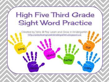 High Five Third Grade Sight Word Practice