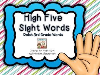 High FiveSight WordsDolch 3rd Grade Words