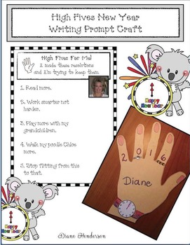 Free New Years Craft: High Fives New Year Writing Prompt Craftivity