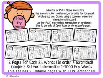 High Freq Word Fluency Intervention Editable Full Set 1000 Fry Words BreathBoxes
