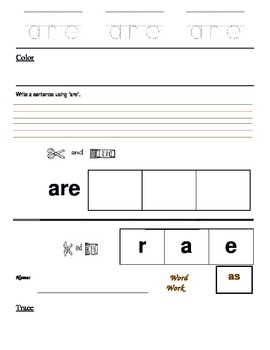 High Freq Words - Trace, color, cut and paste