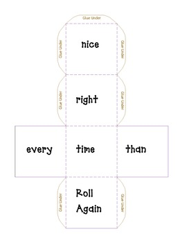 Word Work: High Frequency Cube Roll-nice, right, time, every, than