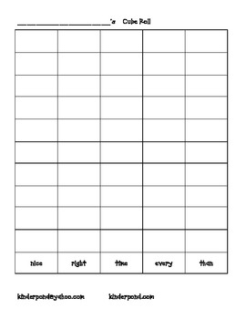 Word Work: High Frequency Cube Roll-nice, right, time, eve