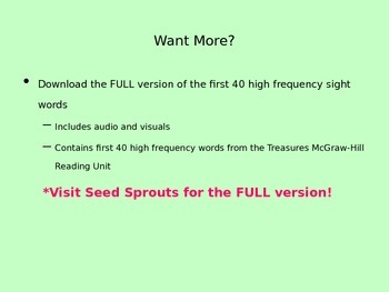 High Frequency First 40 Sight Words Audio Powerpoint Freebie