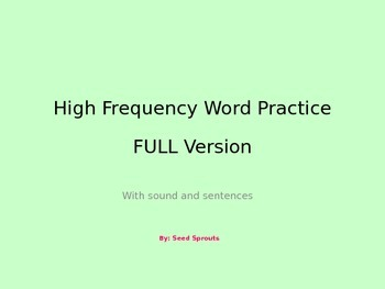 High Frequency First 40 Sight Words Audio Powerpoint Full Version