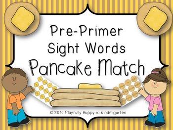 Dolch Sight Word (Pre-Primer) Pancake Matching Game