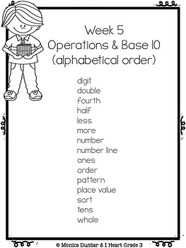 High Frequency Math Words Operations & Base 10 Unit