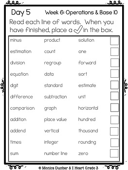 High Frequency Math Words for Operations & Base 10 Unit