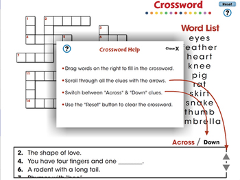 High Frequency Picture Words: Crossword - PC Gr. PK-2