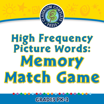 High Frequency Picture Words: Memory Match Game - NOTEBOOK Gr. PK-2