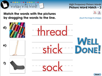 High Frequency Picture Words: Picture Word Match - PC Gr. PK-2
