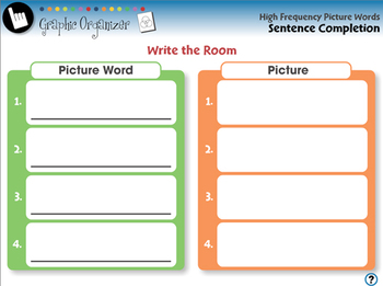 High Frequency Picture Words: Sentence Completion - NOTEBOOK Gr. PK-2