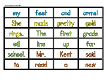High Frequency Sentence Shuffle - Storytown Grade 1 Theme 3 CCSS Aligned