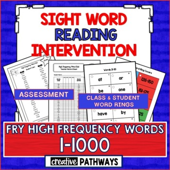 Sight Word Reading Intervention: Assessment & Word Rings-Fry Sight Words 1-1000
