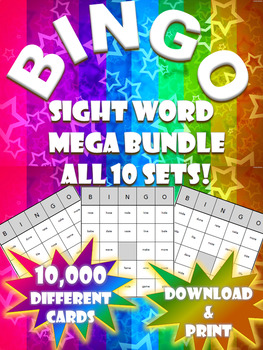 High Frequency Sight Word Bingo! | Mega Pack Bundle | (10,000 Different Boards)
