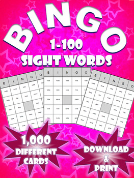 High Frequency Sight Word Bingo! | Words 1-100 | (1,000 Different Boards)