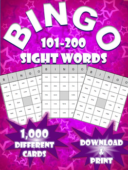 High Frequency Sight Word Bingo! | Words 101-200 | (1,000 Different Boards)