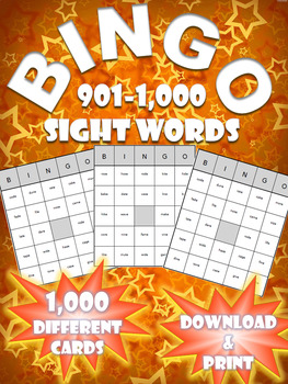 High Frequency Sight Word Bingo! | Words 901-1000 | (1,000 Different Boards)
