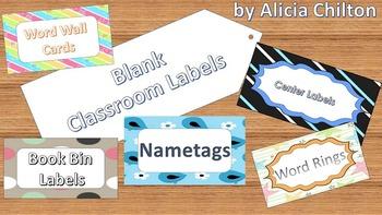 Sight Word Cards Classroom Organization Labels - Blank