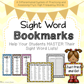 High Frequency Sight Word Bookmarks
