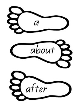 High Frequency Sight Word Foot Prints - Queensland Font