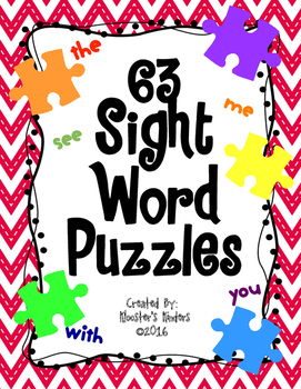 Sight Word Puzzles - High Frequency Word Literacy Center