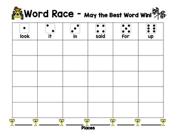 Pre Primer Sight Word Recognition, Spelling & Writing - Word Race with Dice