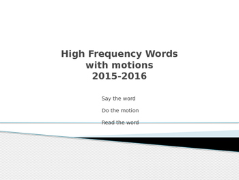 High Frequency/Sight Word Video
