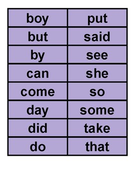 High Frequency Sight Words (Color)