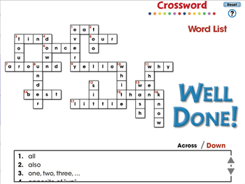 High Frequency Sight Words: Crossword - MAC Gr. PK-2