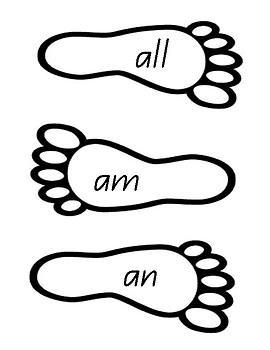 High Frequency Sight Words Foot and Shoe Prints - Queensland Font