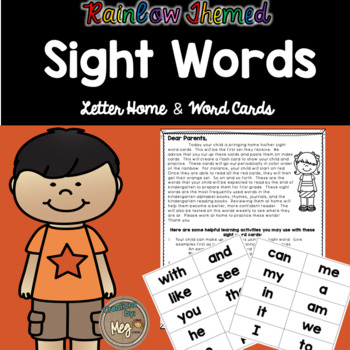 Kindergarten Sight Words-A Progress Monitoring System {Letter Home & Word Cards}