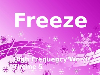High Frequency Sight Words - Freeze Game