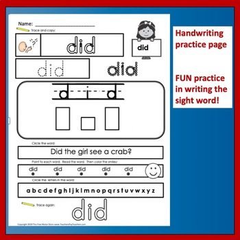 High Frequency Sight Words Handwriting Worksheets