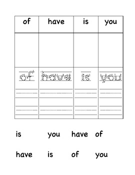 High Frequency (Sight) Words Practice Sheets