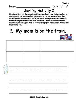 High Frequency Sight Words Set A: Weeks 2-6