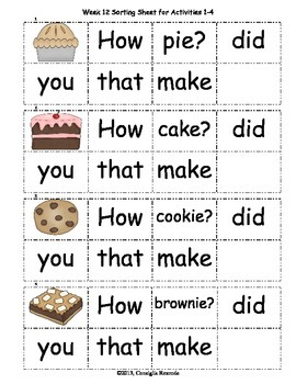 High Frequency Sight Words Set C: Weeks 12-16
