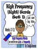 High Frequency Sight Words Set D: Week 17-21