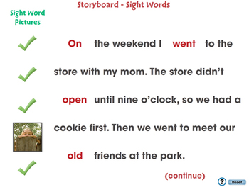 High Frequency Sight Words: Storyboard - Sight Words - PC Gr. 5-8